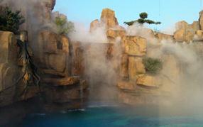 小区别墅酒店假山景观造雾