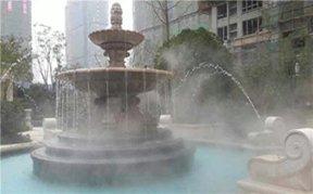 酒店广场造雾与喷泉