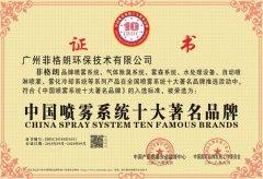 中国喷雾系统十大著名品牌证书